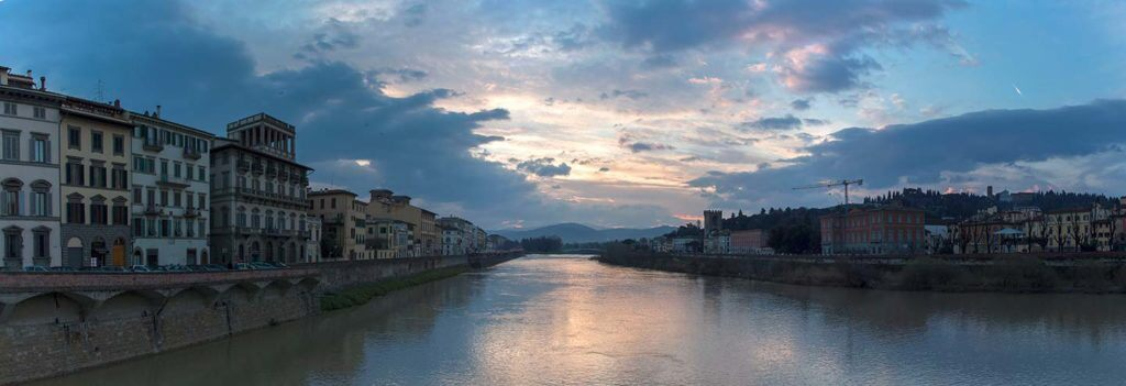 early morning view of the arno river