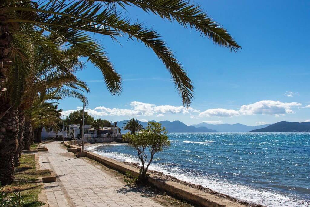 blue sky and ocean at Aegina