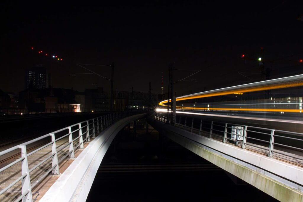 train light trails at Hauptbahnhof