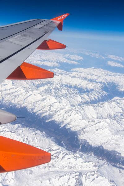 view of alps from airplane