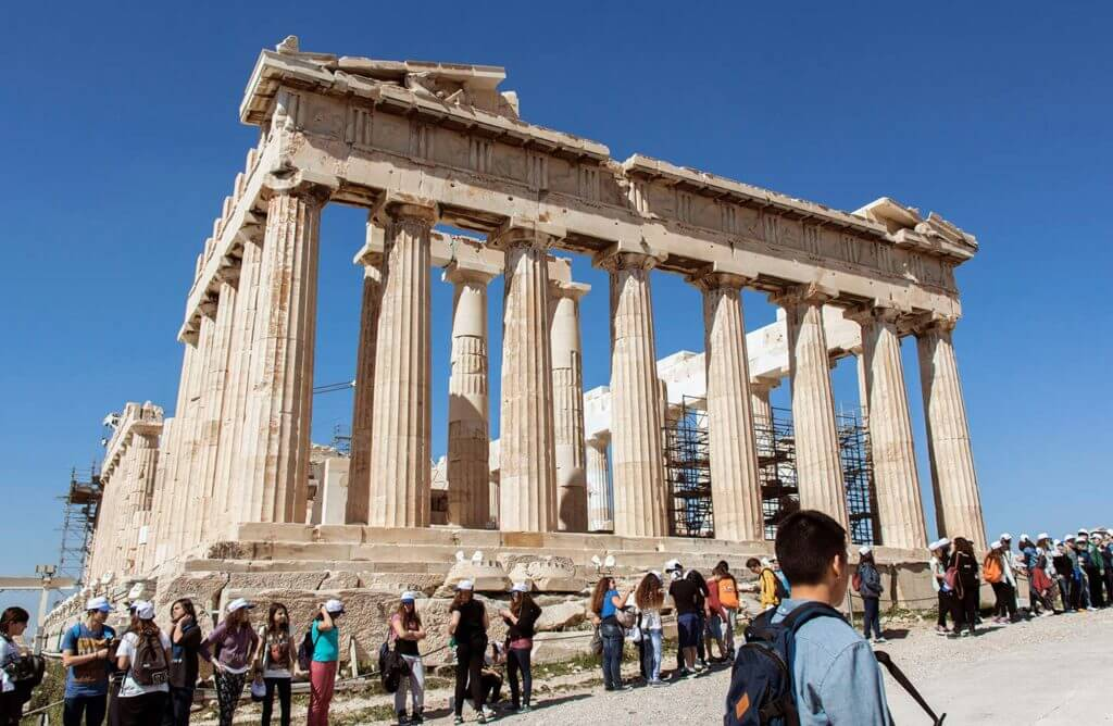 Parthenon on a blue sky day