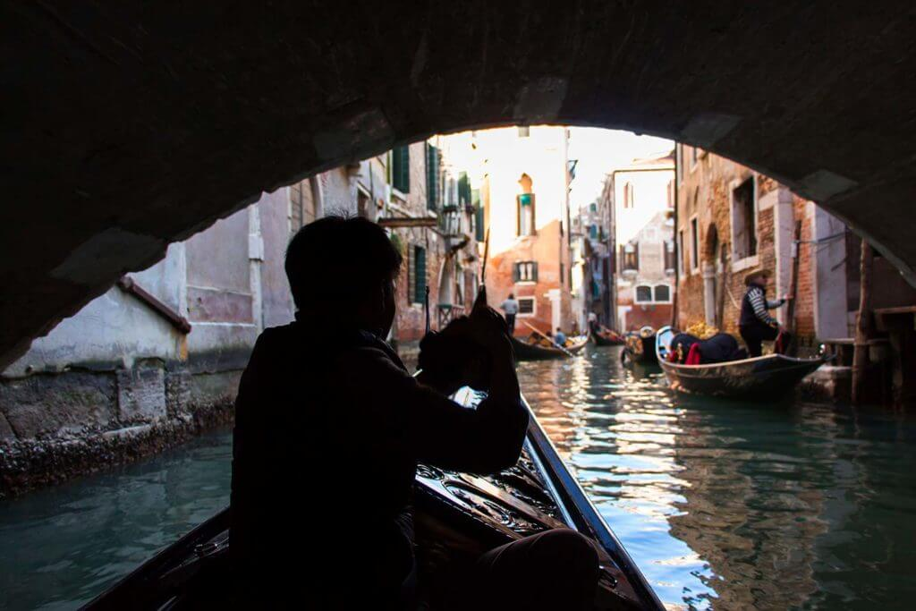 gondola ride under bridge