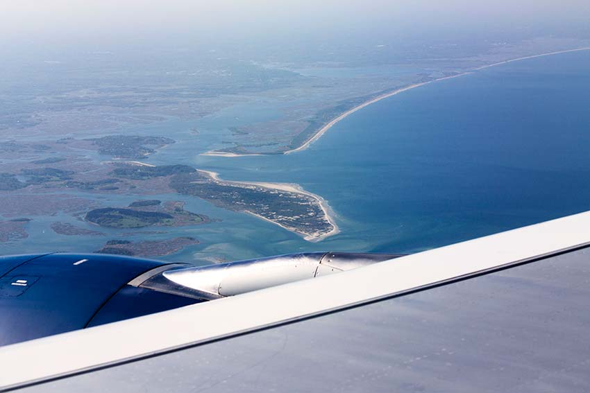 cranes beach from the air