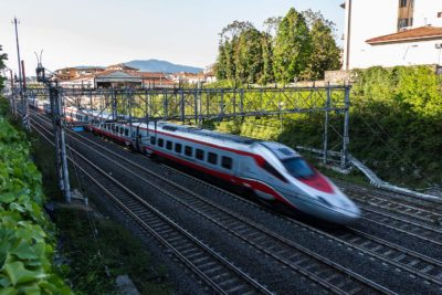 high speed train leaving florence