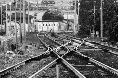 black and white railroad tracks
