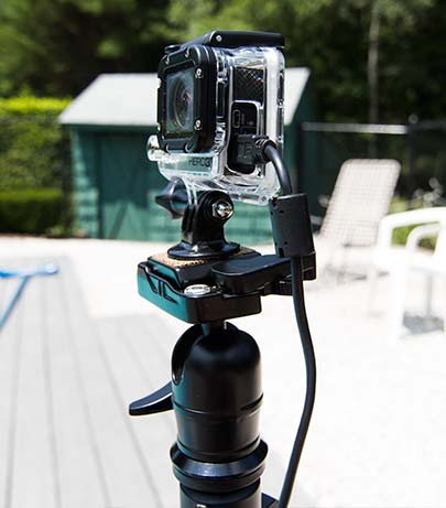 close up of gopro on tripod
