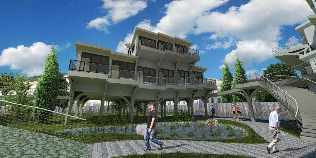 completed render with grass and sky