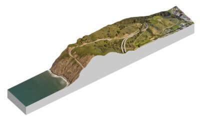 terrain with filled in section cut