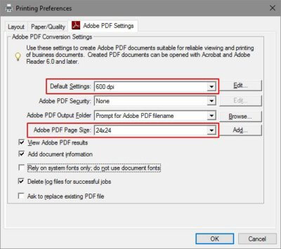 adobe pdf settings box