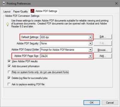 adobe pdf settings box