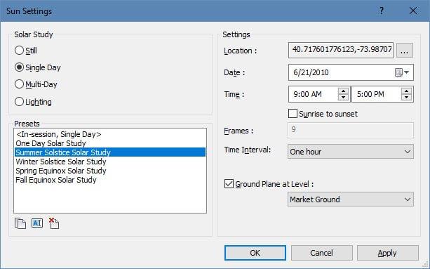 revit solar study settings
