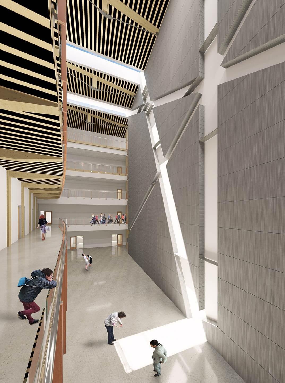 academic atrium sun lit floor