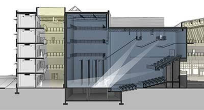 Shadows in Section: Revit – Theater Perspective Section