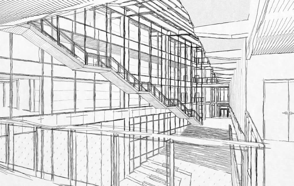 revit hand drawn look - thesis main atrium