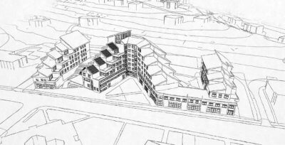 revit hand drawn look - umass gateway