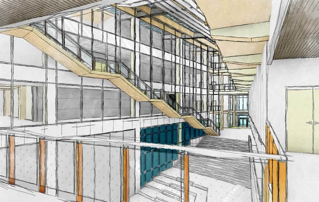revit watercolor look - main atrium